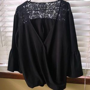 Isaac Mizrahi Black Lace Bodice Top XL